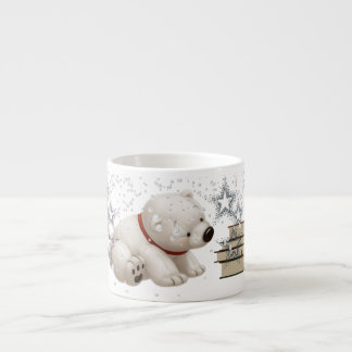 Сharming baby polars bear with books and snow espresso cup