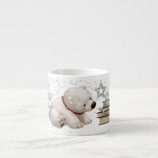Сharming baby polars bear with books and snow espresso mug