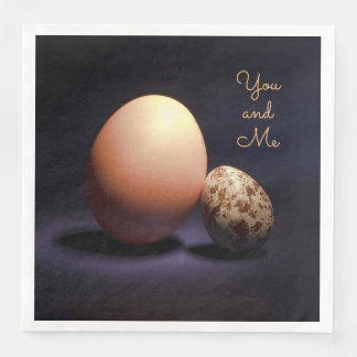 Сhicken and quail eggs in love. Text «You and Me». Paper Dinner Napkin