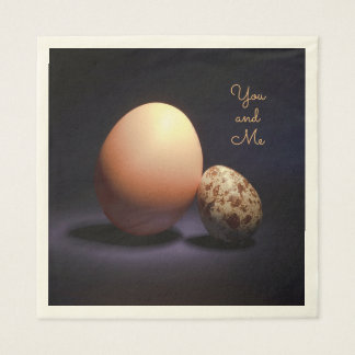 Сhicken and quail eggs in love. Text «You and Me». Paper Napkin