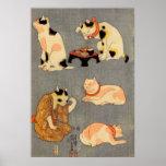 たとえ尽の内(中), 国芳 Japanese Cats(2), Kuniyoshi, Ukiyo-e Poster