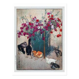 ひよこ, Dianthus & Chicks , Hiroshi Yoshida, Woodcut Postcard