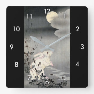 ウサギと月, 小原古邨 Rabbit and Moon, Ohara Koson, Ukiyo-e Square Wall Clock