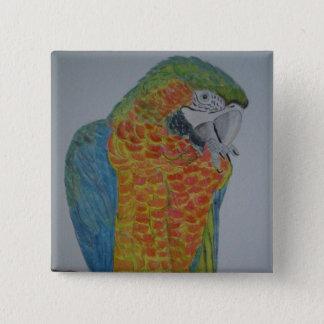 オウム パロット Macaw Parrot chewing on foot 2 Inch Square Button