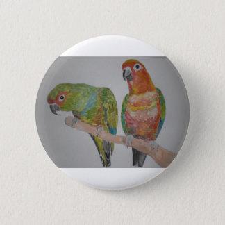 オウム パロットConure pair hanging out 2 Inch Round Button