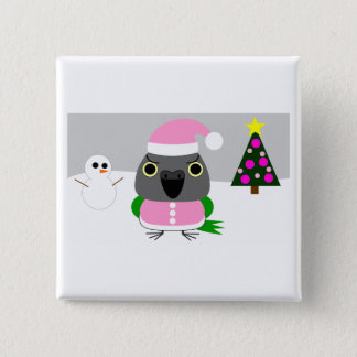 オウム パロットSenegal parrot as Santa for Christmas 2 Inch Square Button