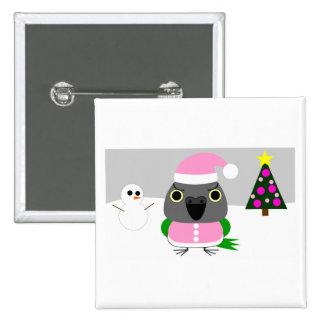 オウム パロットSenegal parrot as Santa for Christmas 2 Inch Square Button