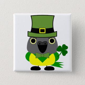 オウムIrish/ St Patrick's Day Senegal Parrot 2 Inch Square Button