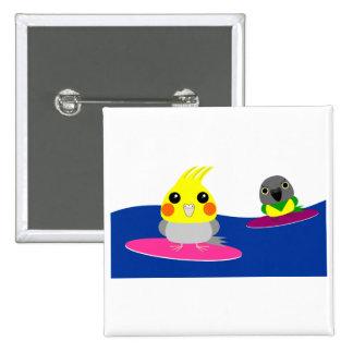 オカメインコ オウム パロットCockatiel & Senegal parrot Surfing 2 Inch Square Button