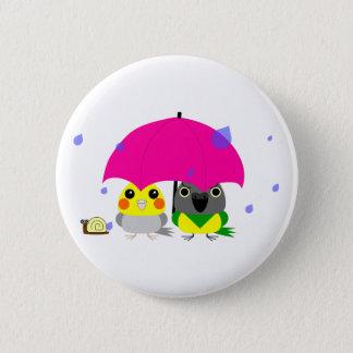 オカメインコ オウム Cockatiel and Senegal Parrot & umbrella 2 Inch Round Button