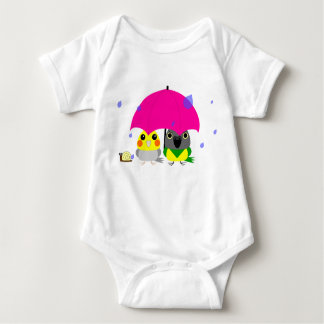 オカメインコ オウム Cockatiel and Senegal Parrot & umbrella Baby Bodysuit