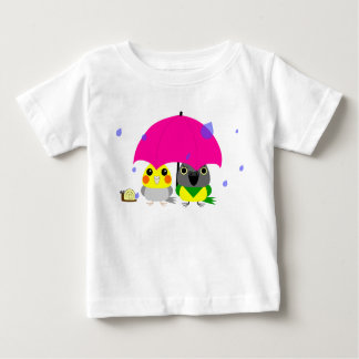 オカメインコ オウム Cockatiel and Senegal Parrot & umbrella Baby T-Shirt