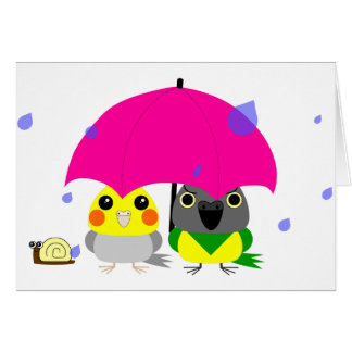 オカメインコ オウム Cockatiel and Senegal Parrot & umbrella Card