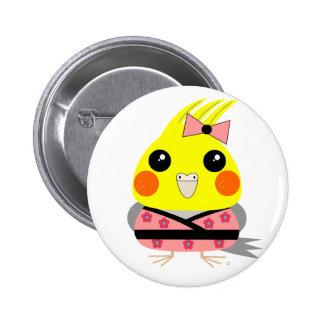 オカメインコ オウム Cockatiel in Kimono 2 Inch Round Button