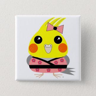 オカメインコ オウム Cockatiel in Kimono 2 Inch Square Button
