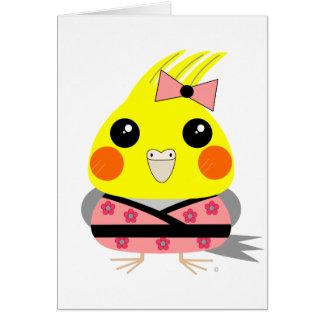 オカメインコ オウム Cockatiel in Kimono Card