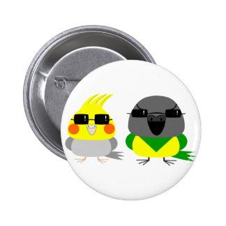 オカメインコ オウム Cockatiel & Senegal parrot with sunglas 2 Inch Round Button