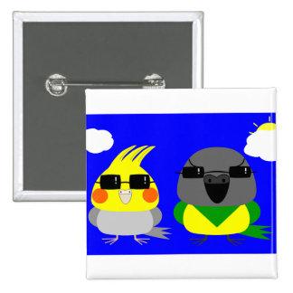 オカメインコ オウム Cockatiel & Senegal parrot with sunglas 2 Inch Square Button