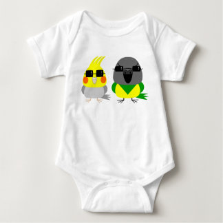 オカメインコ オウム Cockatiel & Senegal parrot with sunglas Baby Bodysuit