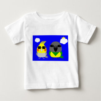 オカメインコ オウム Cockatiel & Senegal parrot with sunglas Baby T-Shirt