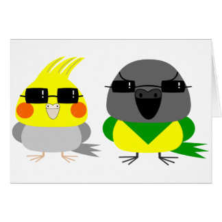 オカメインコ オウム Cockatiel & Senegal parrot with sunglas Card