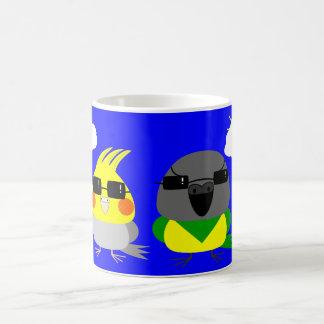 オカメインコ オウム Cockatiel & Senegal parrot with sunglas Coffee Mug