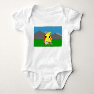 オカメインコ オウムCockatiel parrot ready to hike Baby Bodysuit