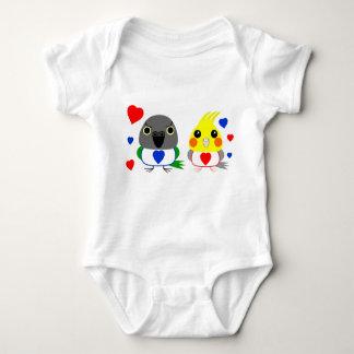 オカメインコ  オウムCockatiel & Senegal Parrot with hearts Baby Bodysuit