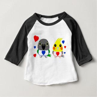 オカメインコ  オウムCockatiel & Senegal Parrot with hearts Baby T-Shirt