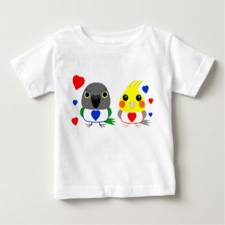 オカメインコ  オウムCockatiel & Senegal Parrot with hearts Baby T-Shirt
