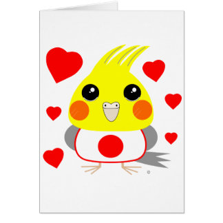 オカメインコ オウムCockatiel with love for Japan Card