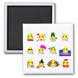 オカメインコ Cockatiel bird holiday designs Magnet