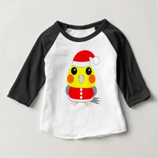 オカメインコCockatiel parrot Santa for Christmas Baby T-Shirt