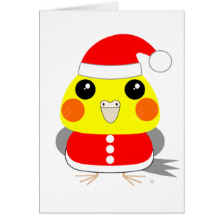 オカメインコCockatiel parrot Santa for Christmas Card