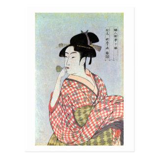 ガラスの笛を吹く女, 歌麿 Glass Whistling Woman, Utamaro Postcard