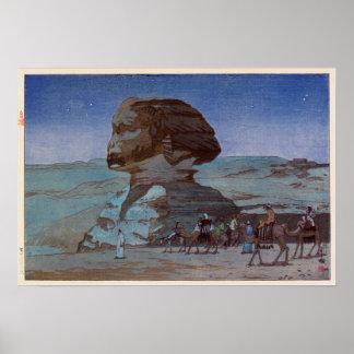 スフィンクス(夜), Sphinx(Night), Hiroshi Yoshida, Woodcut Poster