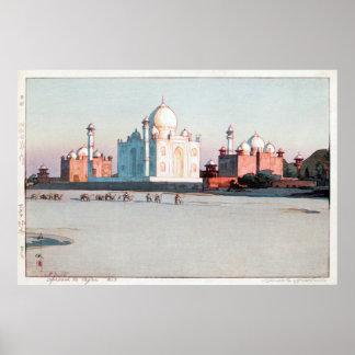 タージ・マハル, Taj Mahal, Agra, Hiroshi Yoshida, Woodcut Poster