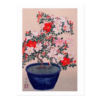 ツツジの盆栽, 小原古邨 Bonsai Azalea, Ohara Koson, Ukiyo-e Postcard