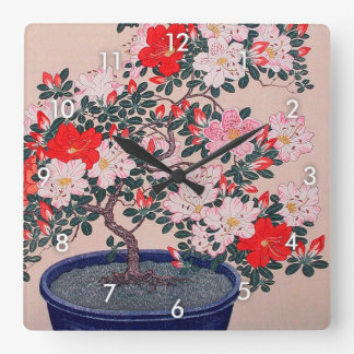 ツツジの盆栽, 小原古邨 Bonsai Azalea, Ohara Koson, Ukiyo-e Square Wall Clock