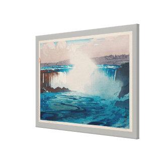 ナイアガラ瀑布, Niagara Falls, Hiroshi Yoshida, Woodcut Canvas Print