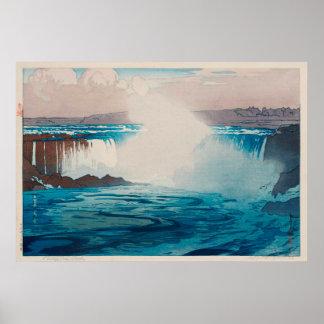 ナイアガラ瀑布, Niagara Falls, Hiroshi Yoshida, Woodcut Poster
