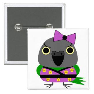 ネズミガシラハネナガインコ  オウム  Senegal Parrot in Kimono 2 Inch Square Button