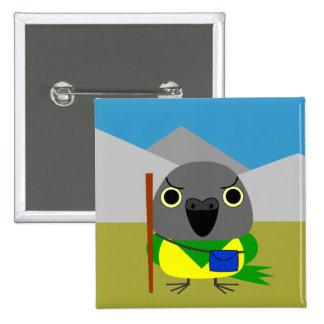 ネズミガシラハネナガインコ  オウム Senegal parrot ready to hike 2 Inch Square Button