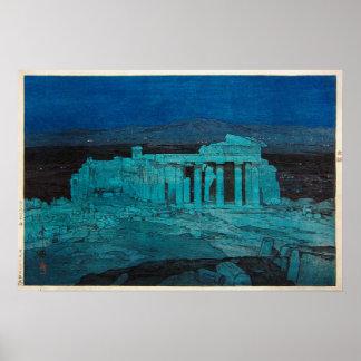 パルテノン神殿, Parthenon, Hiroshi Yoshida, Woodcut Poster