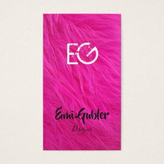 ピンクのファーの個性的なオシャレ名刺 BUSINESS CARD