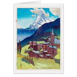 マッターホルン, Matterhorn, Hiroshi Yoshida, Woodcut Card