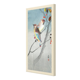 レンジャクと赤い実, 古邨 Waxwings with Red berries, Koson Canvas Print