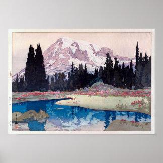 レーニア山, Mount Rainier, Hiroshi Yoshida, Woodcut Poster