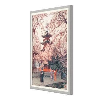 上野公園, Cherry blossoms at Ueno Park, Yoshida Canvas Print
