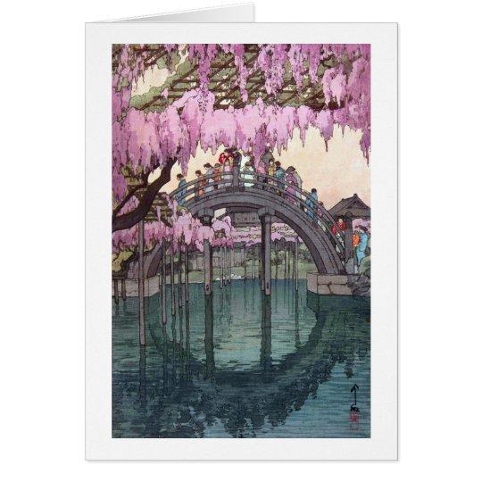 亀戸天神, Kameido Bridge, Hiroshi Yoshida, Woodcut Card